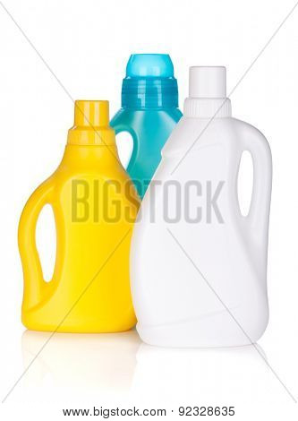 Plastic bottles of cleaning product. Isolated on white background