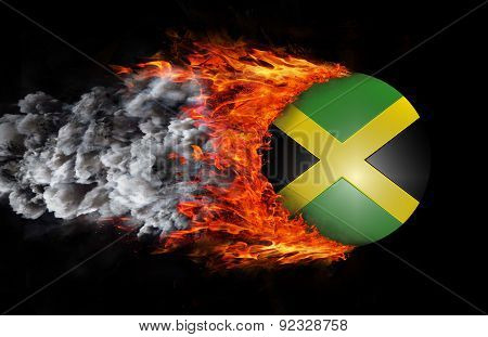 Flag With A Trail Of Fire And Smoke - Jamaica
