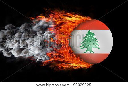 Flag With A Trail Of Fire And Smoke - Lebanon