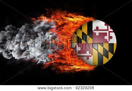 Flag With A Trail Of Fire And Smoke - Maryland