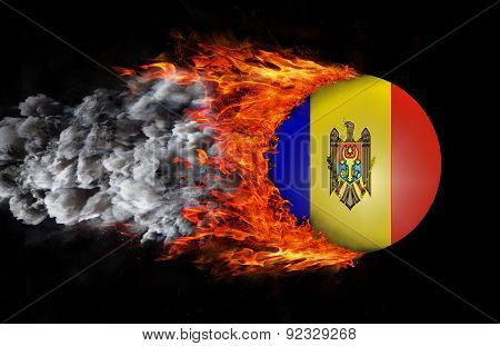 Flag With A Trail Of Fire And Smoke - Moldova