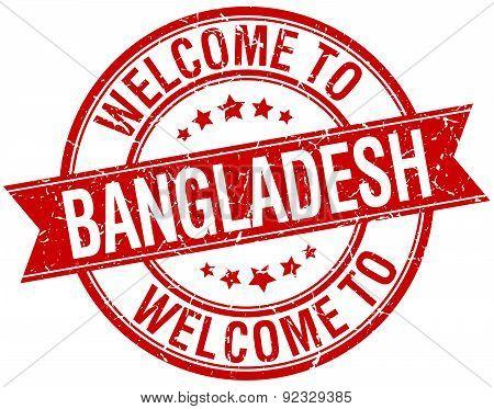 Welcome To Bangladesh Red Round Ribbon Stamp
