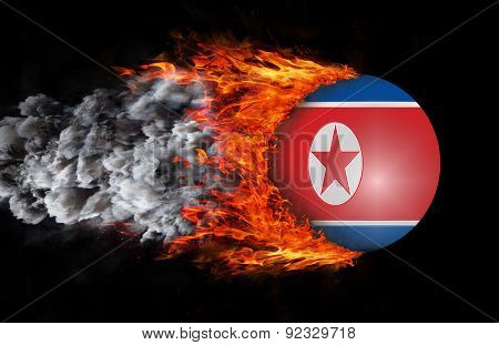 Flag With A Trail Of Fire And Smoke - North Korea