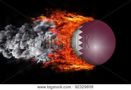 Flag With A Trail Of Fire And Smoke - Qatar
