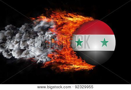 Flag With A Trail Of Fire And Smoke - Syria