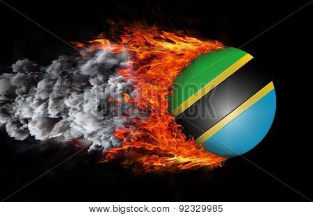 Flag With A Trail Of Fire And Smoke - Tanzania
