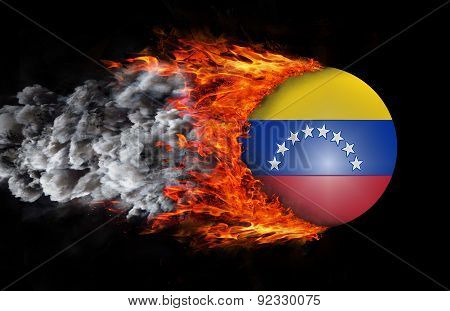 Flag With A Trail Of Fire And Smoke - Venezuela