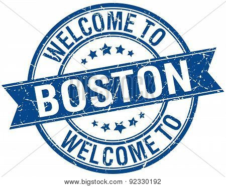 Welcome To Boston Blue Round Ribbon Stamp