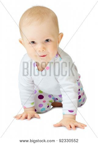 Little baby in white costume isolated