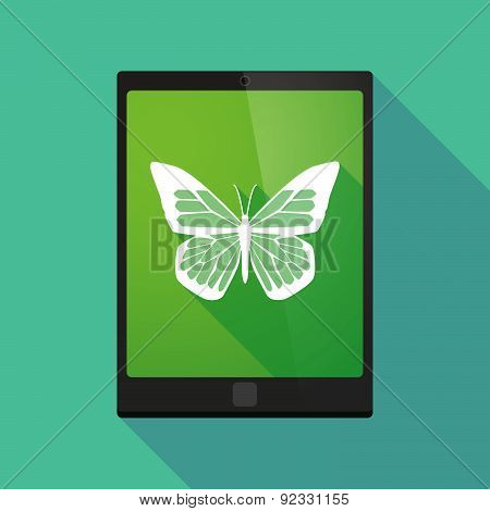 Tablet Pc Icon With A Butterfly