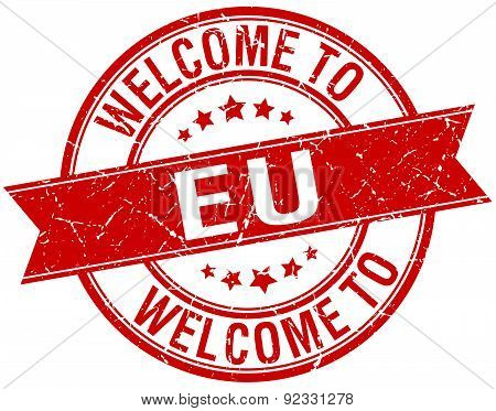 Welcome To Eu Red Round Ribbon Stamp