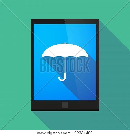 Tablet Pc Icon With An Umbrella