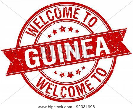 Welcome To Guinea Red Round Ribbon Stamp