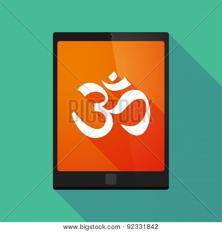 Tablet Pc Icon With An Om Sign