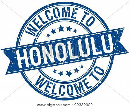 Welcome To Honolulu Blue Round Ribbon Stamp
