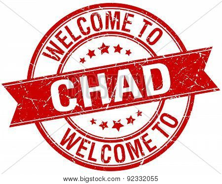 Welcome To Chad Red Round Ribbon Stamp