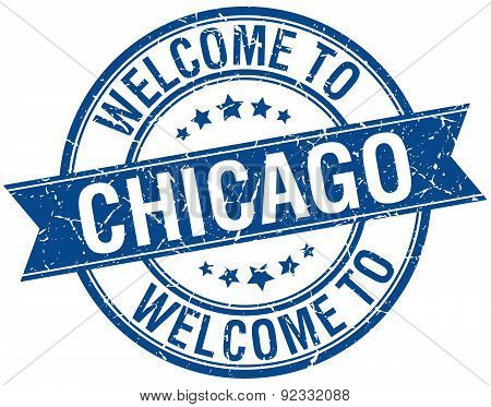 Welcome To Chicago Blue Round Ribbon Stamp