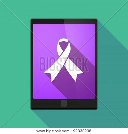 Illustration of a tablet pc icon wit a social awareness ribbon