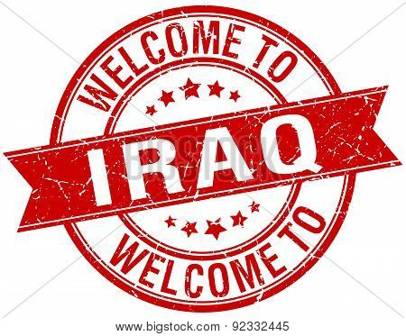 Welcome To Iraq Red Round Ribbon Stamp