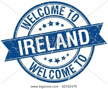 Welcome To Ireland Blue Round Ribbon Stamp