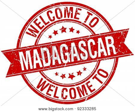 Welcome To Madagascar Red Round Ribbon Stamp