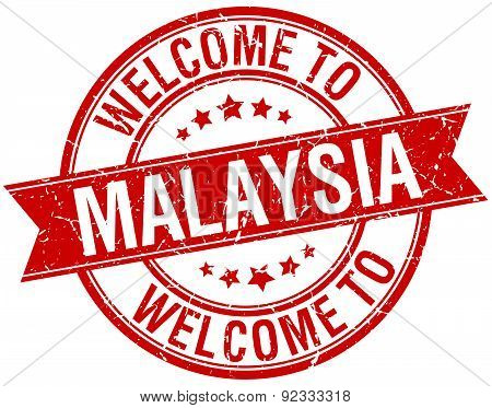 Welcome To Malaysia Red Round Ribbon Stamp