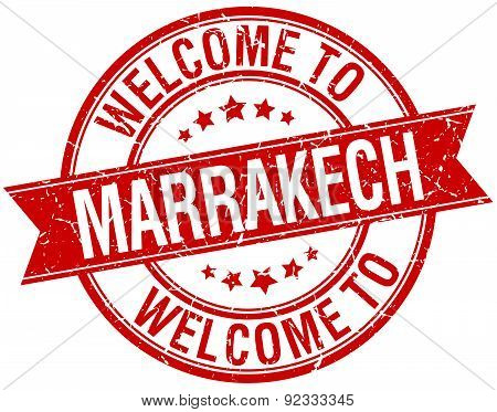 Welcome To Marrakech Red Round Ribbon Stamp
