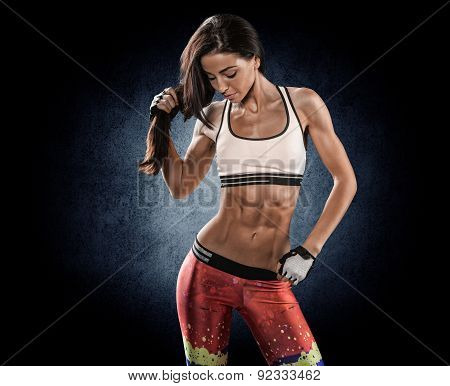 Beautiful Slim Young Fitness Brunette In Stern, Powerful Stance.