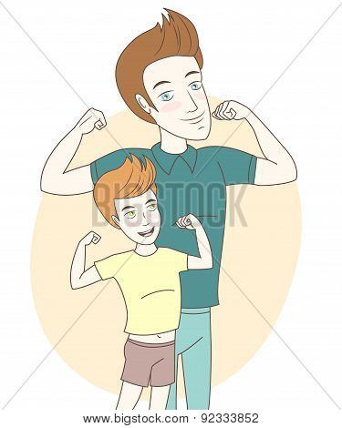 Father and son showing biceps. Hand drawn style