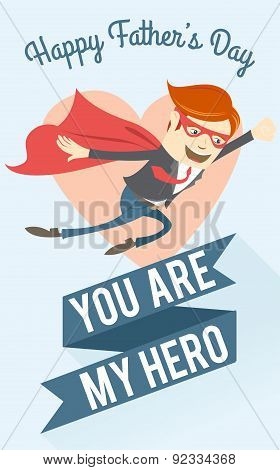 Father-superman flying. Greeting card for father's day