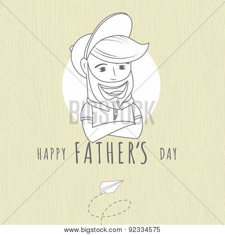 Hipster funny bearded man. Greeting card for father's day on woo