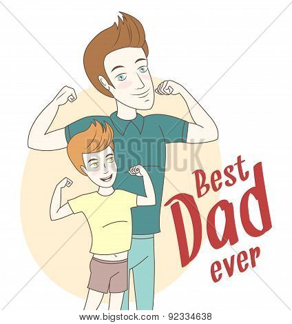 Father and son showing biceps. Hand drawn style. Hand drawn styl