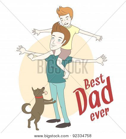 Son on his father's shoulders with their dog. Hand drawn style