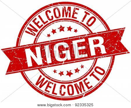 Welcome To Niger Red Round Ribbon Stamp