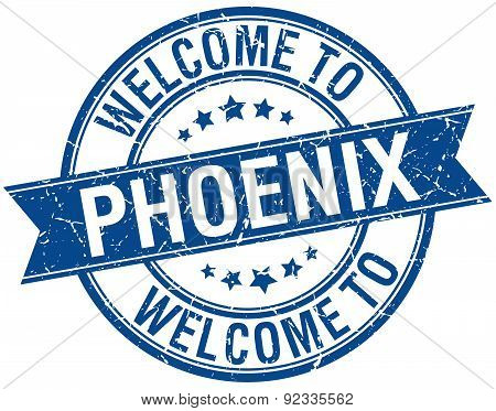 Welcome To Phoenix Blue Round Ribbon Stamp