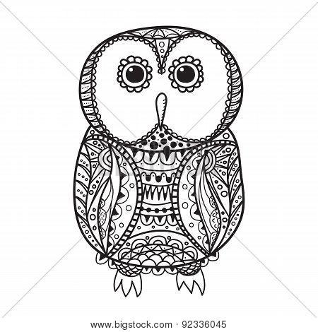 Cute Decorative Ornamental Owl, Vector Illustration