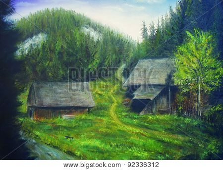 Painting Mountain Forest, Mountain Stream And Wood Cottage Hidden In The Trees.