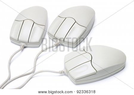 Three Computer Mouse Isolated on White Background