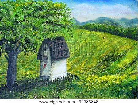 Chapel In Nature Under The Linden Tree, Color Oil Painting. Beauty Mountains And Lake In The Backgro