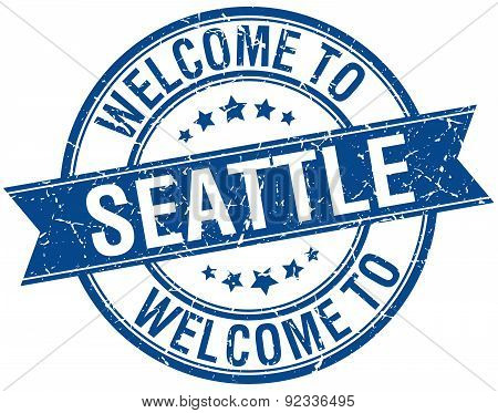 Welcome To Seattle Blue Round Ribbon Stamp