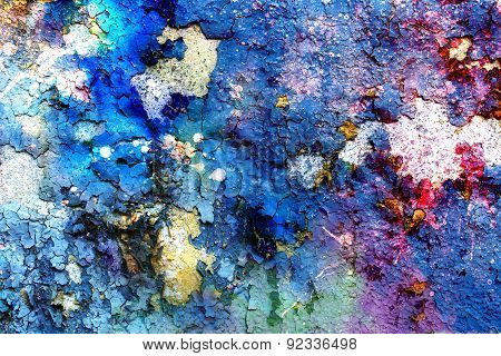 Blue Crackle Wall Texture, Color Crackled Background, With Spots
