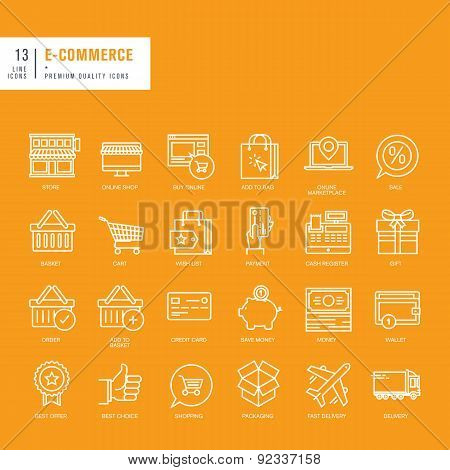 Set of thin lines web icons