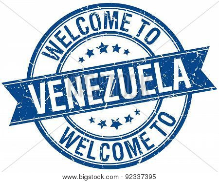 Welcome To Venezuela Blue Round Ribbon Stamp