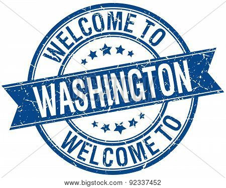 Welcome To Washington Blue Round Ribbon Stamp