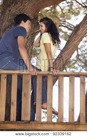Teenage Couple In Treehouse