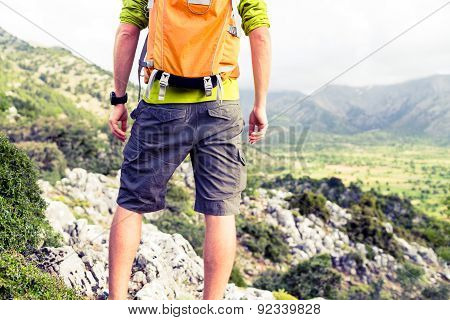 Hiking Man Looking At Beautiful Mountains View
