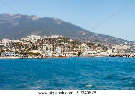 Beautiful View On Embankment Of Yalta. Sunny Day.