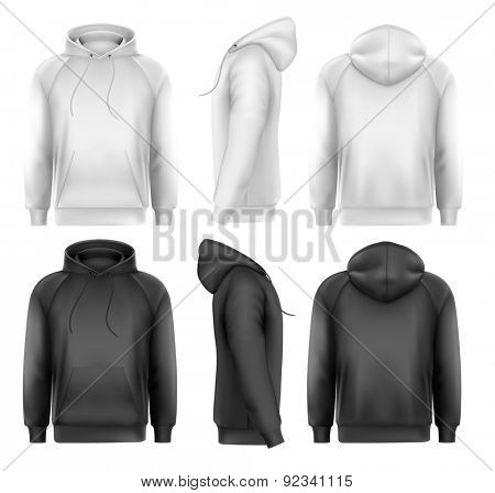 Set of black and white male hoodies with sample text space.