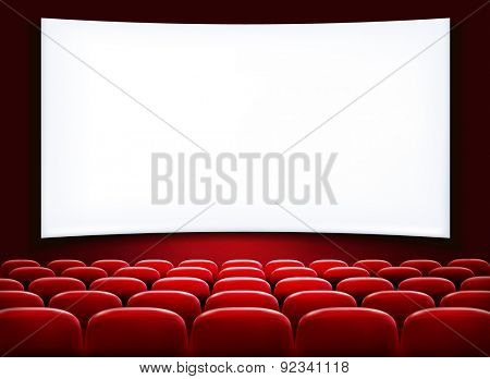 Rows of red cinema or theater seats in front of white blank screen.