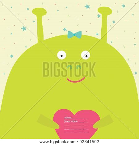 Greeting card with cartoon and funny character animals.